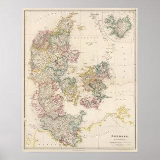 Danmark med inläggkartan av islandet affischer