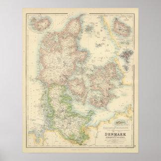 Danmark med Schleswig och Holstein Poster