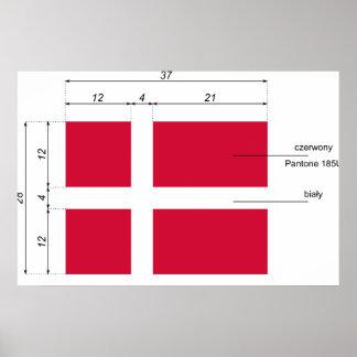 Danmark-Proportionerar den Danmark flagga Poster