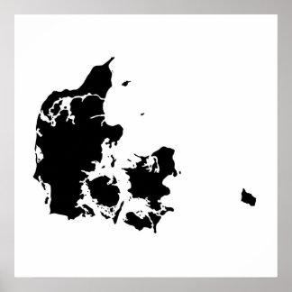 Danmark Silhouette Poster