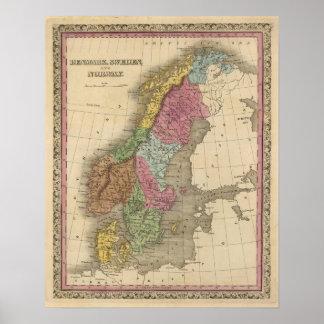 Danmark sverige, norge print