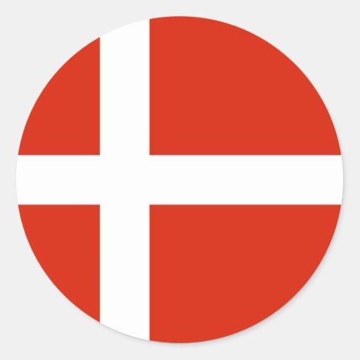 Dannebrog; Den officiella flagga av Danmark Runda Klistermärken