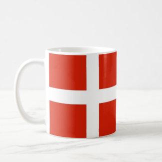 Dannebrog; Den officiella flagga av Danmark Vit Mugg