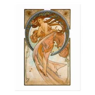 Dans (1898), Alphonse Mucha konst Nouveau Vykort