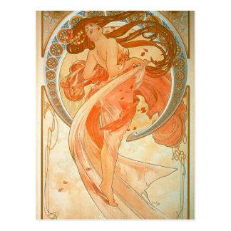 """""""Dans"""" - art nouveau - Alphonse Mucha Vykort"""