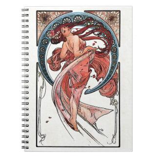 Dans av Alfons Mucha 1898 Anteckningsbok Med Spiral