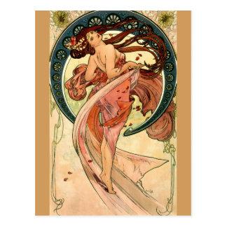Dans av Alfons Mucha - art nouveau Vykort