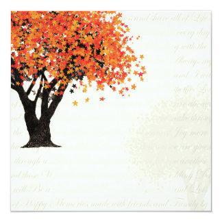 Dansa blomträdinbjudan fyrkantigt 13,3 cm inbjudningskort