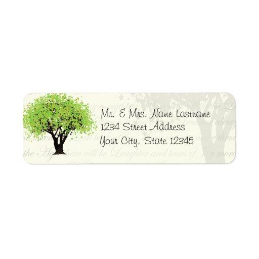 Dansa den gröna trädadressen för blom returadress etikett