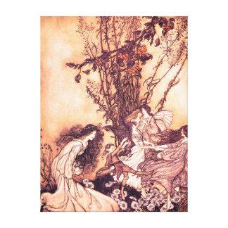 Dansa med den älvorArthur Rackham illustrationen Canvastryck