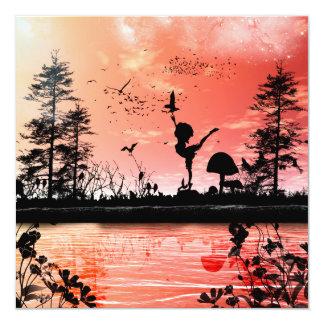 Dansa med fåglarna fyrkantigt 13,3 cm inbjudningskort