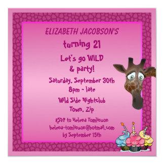 Dansa, tills du tappar rosa giraffpartyinbjudan fyrkantigt 13,3 cm inbjudningskort