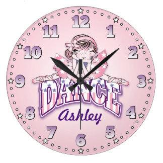 Dansare den Time Personalizable väggen tar tid på Stor Rund Klocka