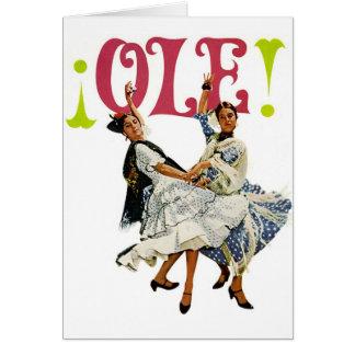 Dansare för flamenco för Retro kvinnor för vintage Hälsningskort