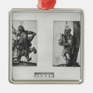 Dansbönder och en säckpipe- spelare, 1514 julgransprydnad metall