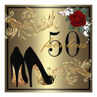 Dansen skor - sagolik 50th födelsedaginbjudan fyrkantigt 13,3 cm inbjudningskort