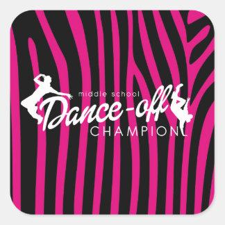 Dansmästare, zebra tryck fyrkantigt klistermärke