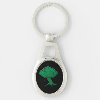 DAoC Hibernia Keychain Ovalt Silverfärgad Nyckelring