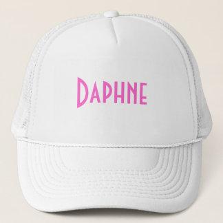 Daphne vit namngav Hatt med rosa text Truckerkeps