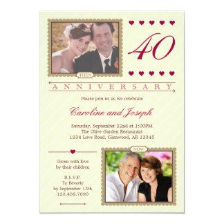 Därefter och nu 40th bröllopsdaginbjudan 12,7 x 17,8 cm inbjudningskort