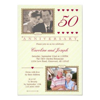 Därefter och nu 50th bröllopsdaginbjudan 12,7 x 17,8 cm inbjudningskort