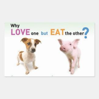 Därför kärlek en men äter annan - hunden och rektangulärt klistermärke