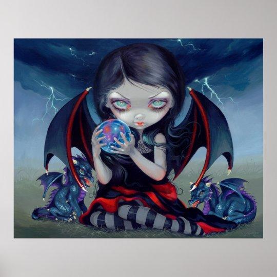 Dark Dragonling ART PRINT gothic dragon fairy Poster