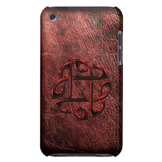 Dark red celtic knot on leather iPod touch cases