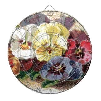 Dartboard för bukett för vintagePansies blom- Piltavla