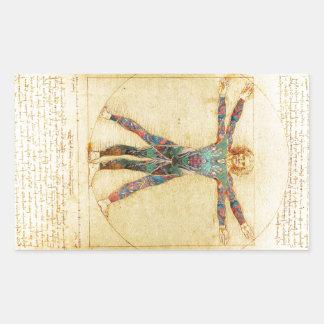 Das Vinci Vitruvian man med tatueringar Rektangulärt Klistermärke