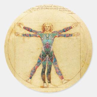 Das Vinci Vitruvian man med tatueringar Runt Klistermärke