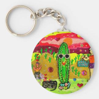 däst kaktus rund nyckelring