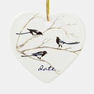 Daterad anpassningsbar, skatafamilj, fåglar julgransprydnad keramik