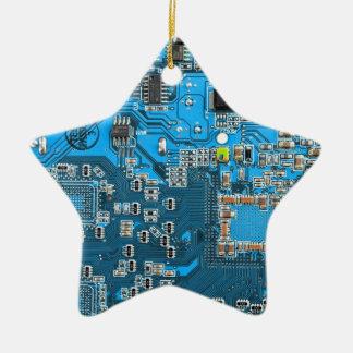 Datorgeeken går runt stiger ombord - blått julgransprydnad keramik
