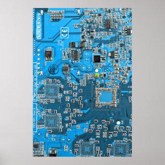 Datorgeeken går runt stiger ombord - blått poster