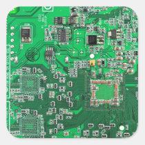 Datorgeeken går runt stiger ombord - grönt fyrkantigt klistermärke