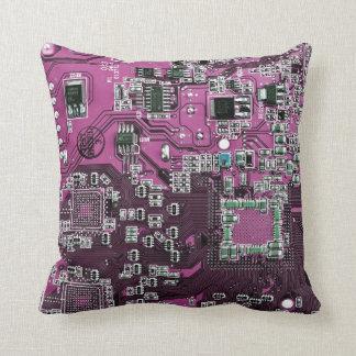 Datorgeeken går runt stiger ombord - rosa lilor kudde