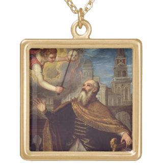 David (olja på panel) guldpläterat halsband