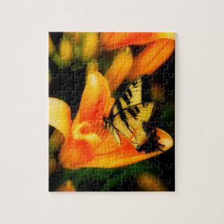 Daylilly och fjärilspussel pussel