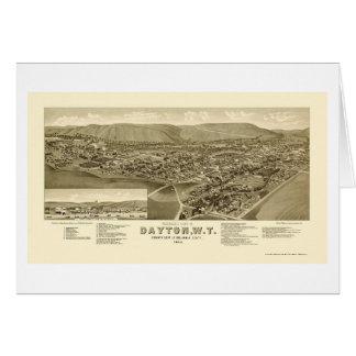 Dayton panorama- karta för WA - 1884 Hälsningskort
