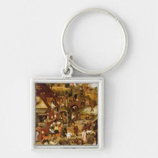 De Flemish proverbsna Fyrkantig Silverfärgad Nyckelring