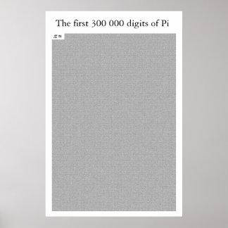 De första 300 000 siffrorna av Pi Poster