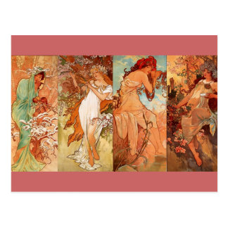 De fyra säsongerna - art nouveau vykort
