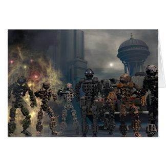 de härliga sju robotarna b hälsningskort