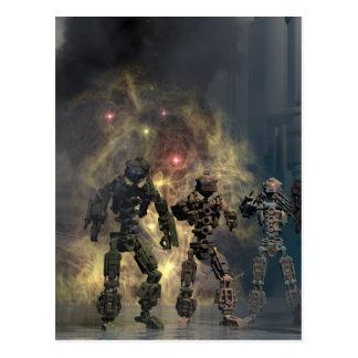 de härliga sju robotarna b vykort