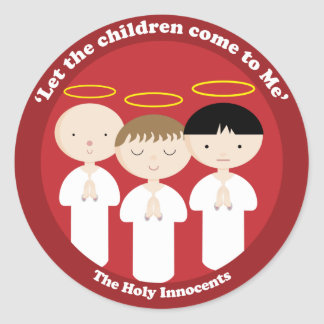 De heliga oskyldigarna runt klistermärke