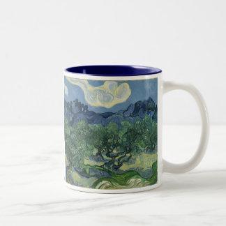 De olivgröna träden av Vincent Van Gogh Två-Tonad Mugg