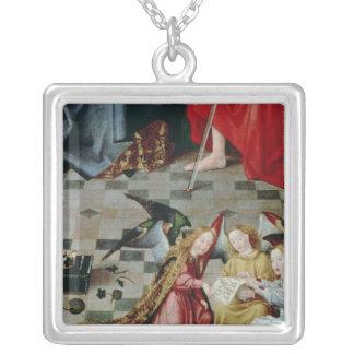 De sju glädjearna av den jungfruliga altarpiecen silverpläterat halsband