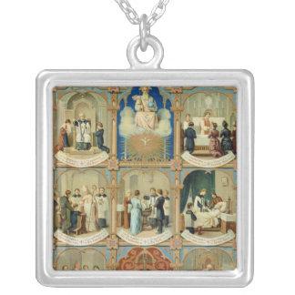 De sju sacramentsna silverpläterat halsband