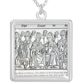 De sju saintsna av Brittany Silverpläterat Halsband
